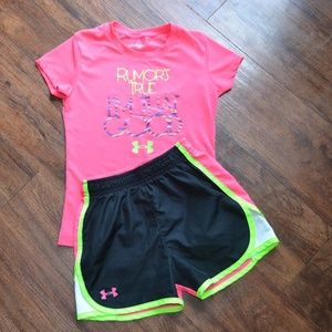 Girls size 6 Under Armour shorts and top